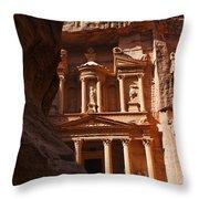 The Treasury Seen From From The Siq Petra Jordan Throw Pillow by Robert Preston