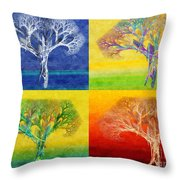 The Tree 4 Seasons - Painterly - Abstract - Fractal Art Throw Pillow