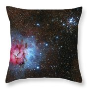 The Trifid Nebula And Messier 21 Throw Pillow