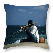 The Trombonist Throw Pillow
