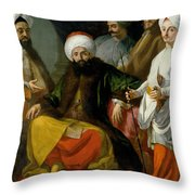 The Turkish Ambassador And His Entourage At The Court Of Naples Throw Pillow