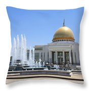 The Turkmenbashi Palace In Independence Square In Ashgabat Turkmenistan Throw Pillow