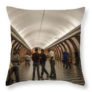 The Underground 1 - Victory Park Metro - Moscow Throw Pillow