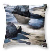 The Unexplored Beach Painted Throw Pillow