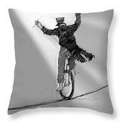 The Unicyclist  Throw Pillow