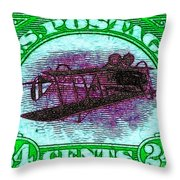 The Upside Down Biplane Stamp - 20130119 - V4 Throw Pillow