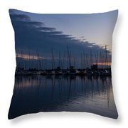 The Urge To Sail Away - Violet Sky Reflecting In Lake Ontario In Toronto Canada Throw Pillow