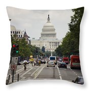 The Us Capitol Building From Pennsylvania Avenue Throw Pillow