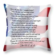 The U.s.a. Flag Poetry Art Poster Throw Pillow by Stanley Mathis
