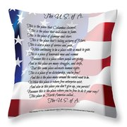 The U.s.a. Flag Poetry Art Poster Throw Pillow