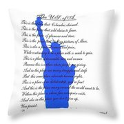 The Usa Statue Of Liberty Poetic Art Poster Throw Pillow by Stanley Mathis