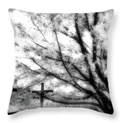 The Veil Was Torn Throw Pillow