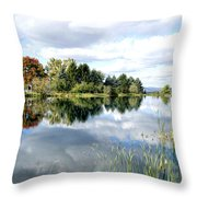 The View Across The Lake Throw Pillow