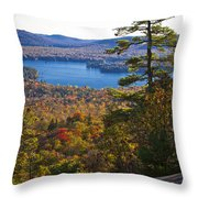 The View From Bald Mountain - Old Forge New York Throw Pillow