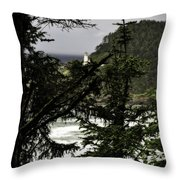 The View Of The Heceta Lighthouse Throw Pillow