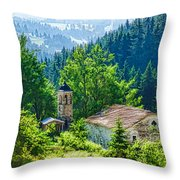 The Village Church - Impressions Of Mountains And Forests Throw Pillow