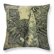 The Vintage Peacock Throw Pillow