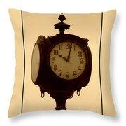 The Vintage Town Clock Throw Pillow