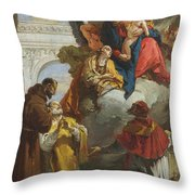 The Virgin And Child Appearing To A Group Of Saints Throw Pillow