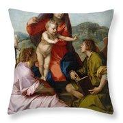 The Virgin And Child Between Saint Matthew And An Angel Throw Pillow