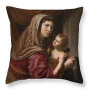 The Virgin And Child Throw Pillow by Jan van Bijlert or Bylert
