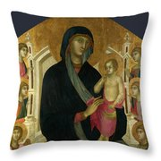 The Virgin And Child With Six Angels Throw Pillow