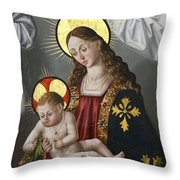 The Virgin And The Child With The Parrot Throw Pillow
