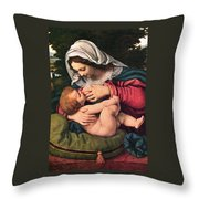 The Virgin And The Green Cushion Throw Pillow by Munir Alawi