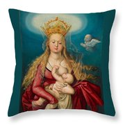 The Virgin As Queen Of Heaven Suckling The Infant Christ Throw Pillow