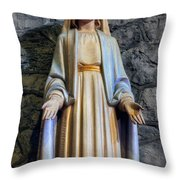 The Virgin Mary Throw Pillow by Ian Mitchell