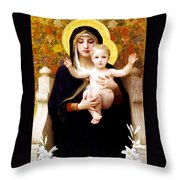 The Virgin Of The Lilies Throw Pillow