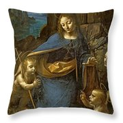 The Virgin Of The Rocks Throw Pillow