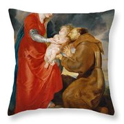 The Virgin Presents The Infant Jesus To Saint Francis Throw Pillow