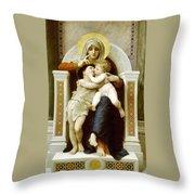 The Virgin The Baby Jesus And Saint John The Baptist Throw Pillow