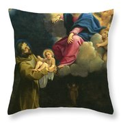 The Vision Of Saint Francis  Throw Pillow by Carracci Ludovico