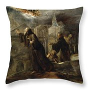 The Vision Of St Francis Of Paola Throw Pillow