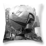 The  W T C Plaza Fountain In Black And White Throw Pillow