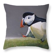 The Walking Puffin Throw Pillow by Eric Burgess-Ray