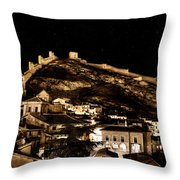The Walls Of Albarracin In The Summer Night Spain Throw Pillow