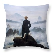 The Wanderer Above The Sea Throw Pillow