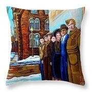 The War Years 1942 Montreal St Mathieu And De Maisonneuve Street Scene Canadian Art Carole Spandau Throw Pillow