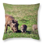 The Warthog Family On Savannah In The Ngorongoro Crater. Tanzania Throw Pillow