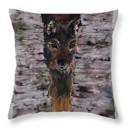 The Watchful Wolf Throw Pillow