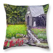 The Water Wheel At Seven Springs Mountain Resort Throw Pillow