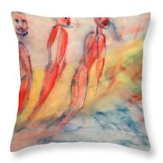 Naked Bodies Playing With Their Lively Waterbus  Throw Pillow