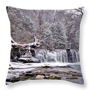 The Waterfall Near Valley Green In The Snow Throw Pillow