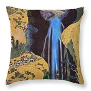 The Waterfall Of Amida Behind The Kiso Road Throw Pillow
