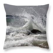 The Wave And The Rock Throw Pillow