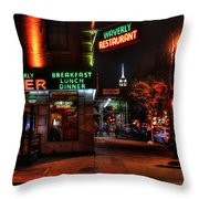 The Waverly Diner And Empire State Building Throw Pillow