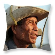 The Weathered Face Of An Ox Cart Driver Throw Pillow